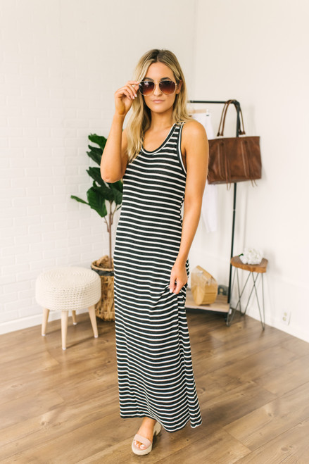Soft Terry Striped Racerback T-Shirt Maxi - Black/White - FINAL SALE