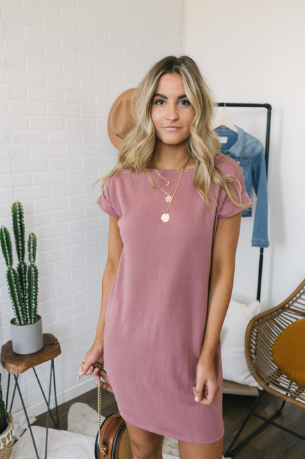 Cuffed Dolman Sleeve T-Shirt Dress - Blush