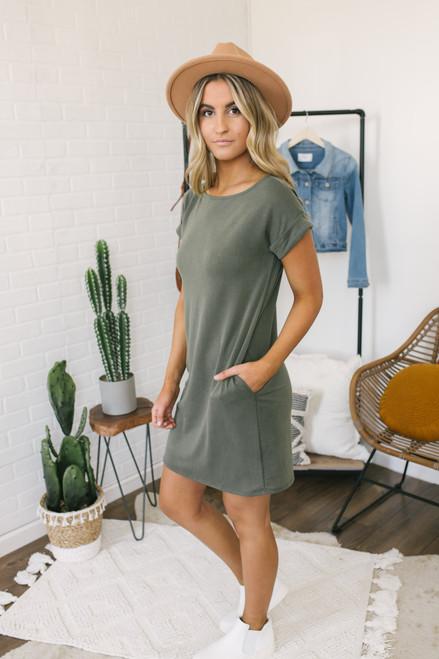 Cuffed Dolman Sleeve T-Shirt Dress - Olive - FINAL SALE