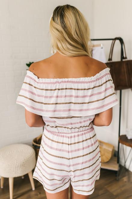 Off the Shoulder Neapolitan Striped Romper - White Multi