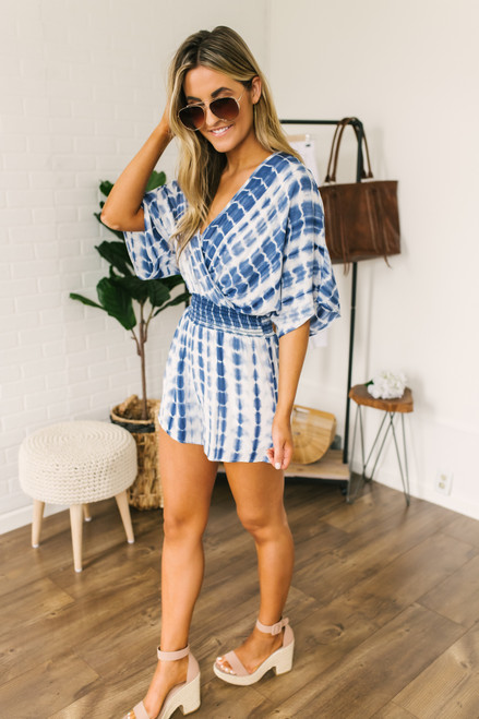 Surplice Smocked Waist Tie Dye Romper - Navy/White - FINAL SALE