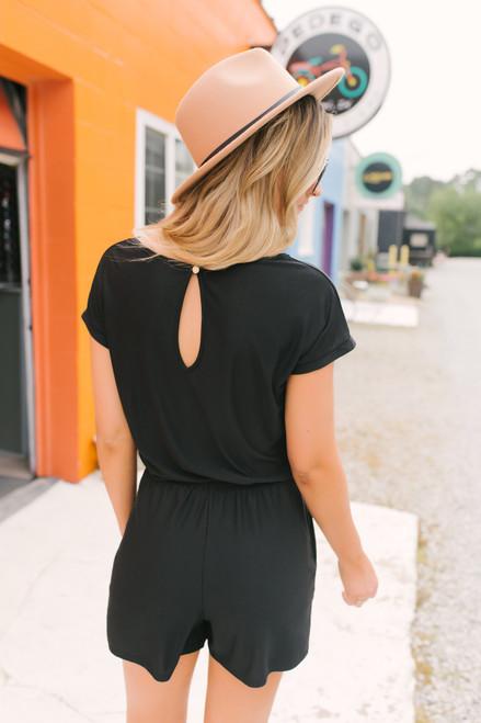 Short Sleeve Drawstring Pocket Romper - Black  - FINAL SALE