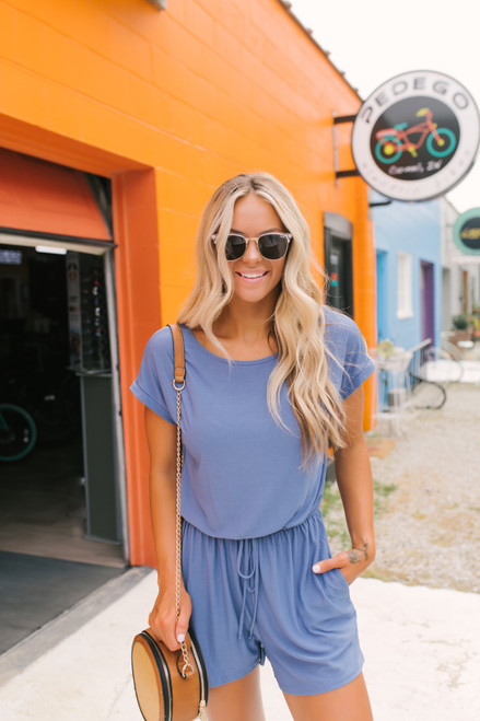 Short Sleeve Drawstring Pocket Romper - Dusty Blue  - FINAL SALE