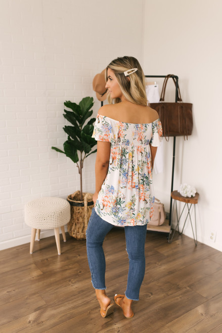 Off the Shoulder Floral Tunic - White Multi