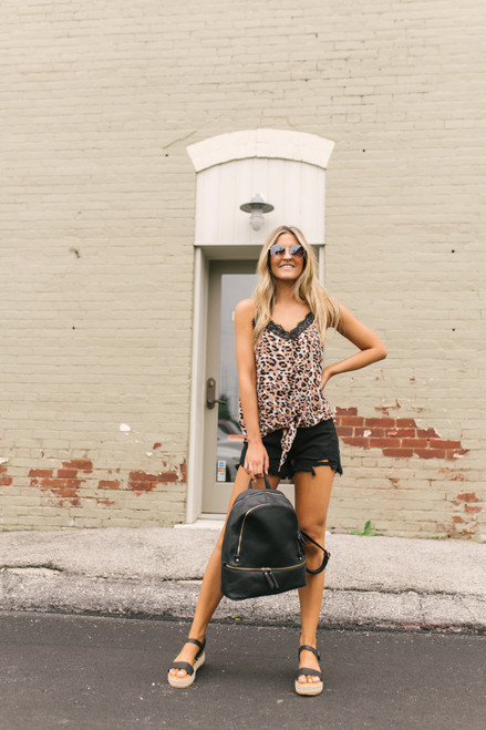 V-Neck Watercolor Leopard Knot Tank - Brown Multi