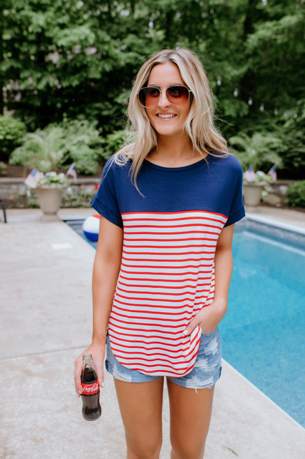 Contrast Striped High Low Tee - Navy/Red/Ivory