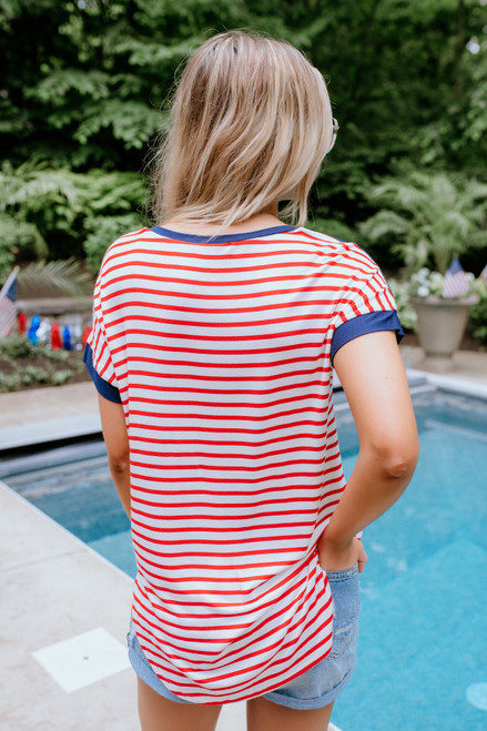 Contrast Striped High Low Tee - Navy/Red/Ivory - FINAL SALE