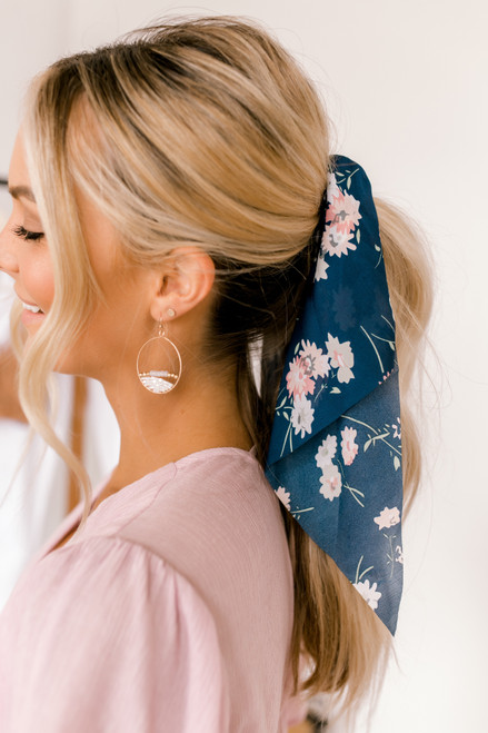 Headbands of Hope Darling Scrunchie - Navy Floral