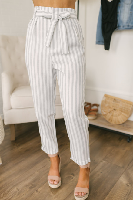 Emerson Tie Waist Striped Pants - White/Grey - FINAL SALE