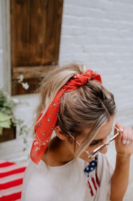 Southwestern Paisley Bandana Hair Tie - Rust