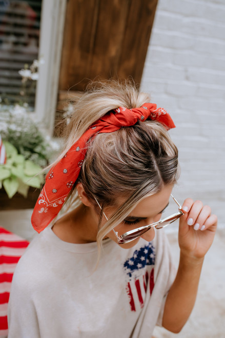 Southwestern Paisley Bandana Hair Tie - Rust  - FINAL SALE