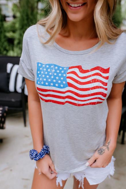 American Flag Tee - Heather Grey- FINAL SALE