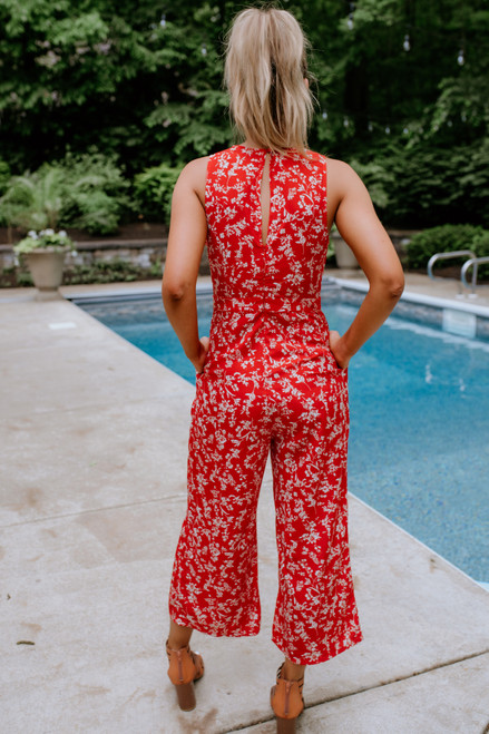 Surplice Tie Waist Floral Jumpsuit - Red Multi