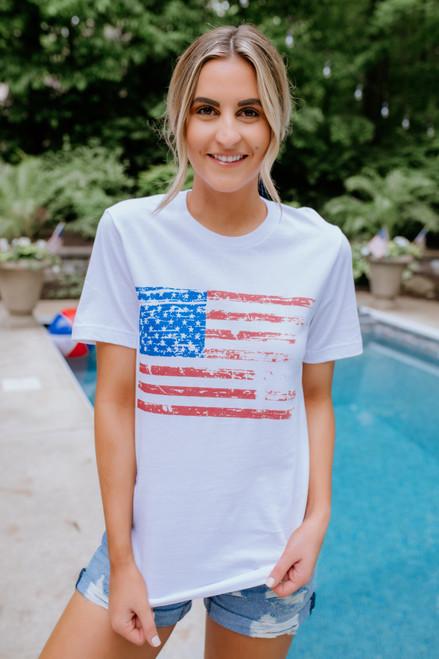 Vintage American Flag Tee - White
