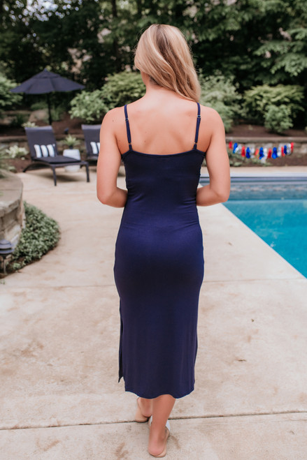 V-Neck Slit Knit Midi Dress - Navy - FINAL SALE