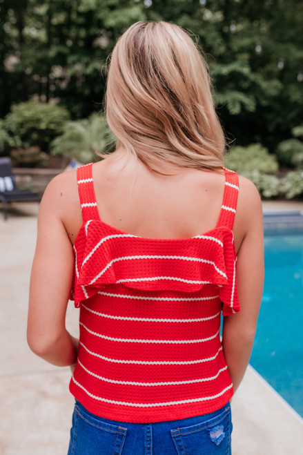 Button Detail Striped Waffle Knot Tank - Red/White