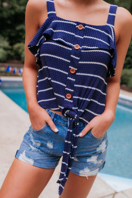 Button Detail Striped Waffle Knot Tank - Navy/White