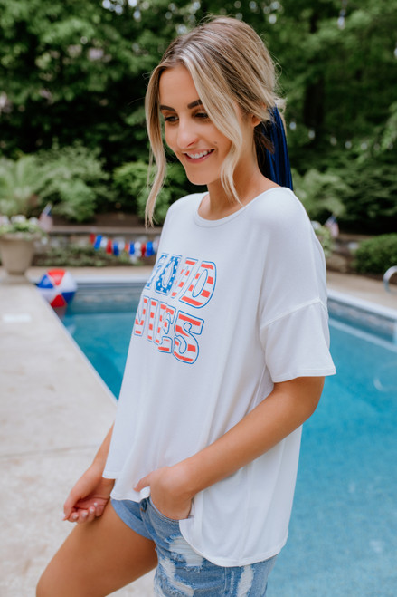 Good Vibes American Flag Tee - Off White (PRE-ORDER) SHIPS 6/14