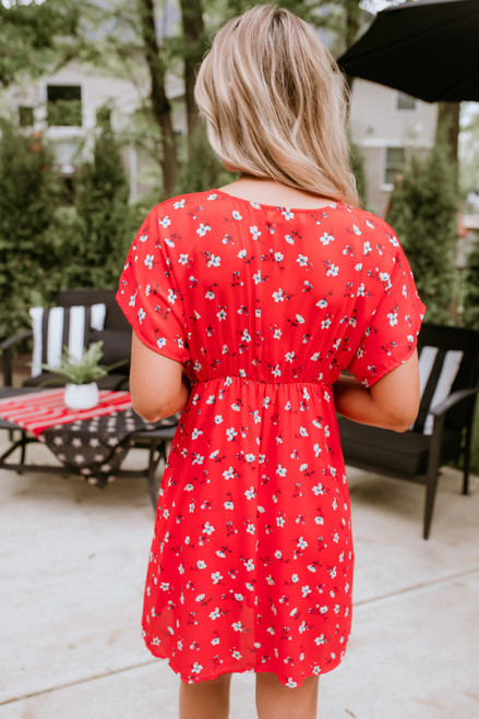 Button Detail Floral Empire Dress - Coral Red