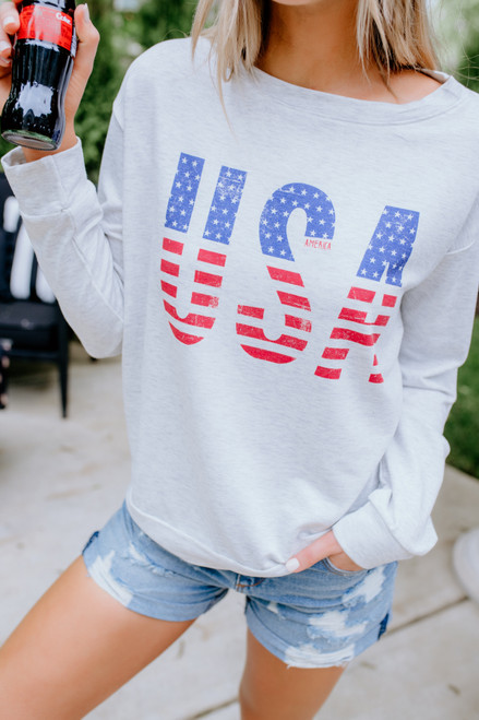USA American Flag Pullover - Heather Grey