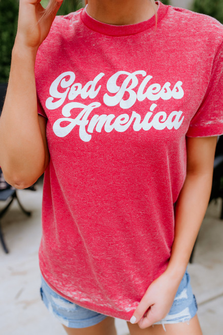 God Bless American Burnout Tee - Red (Pre-order Shipping Out 6/24)