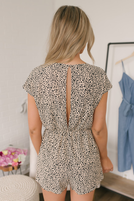 V-Neck Tie Front Cheetah Romper - Nude/Black