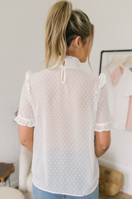 Mock Neck Dotted Chiffon Blouse - Ivory