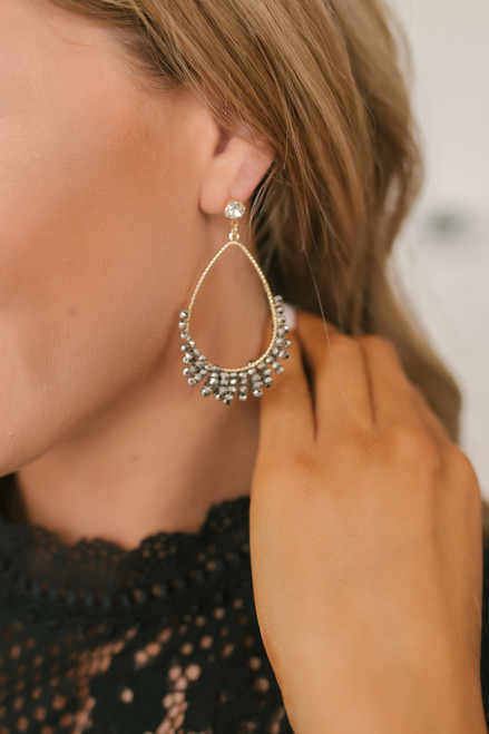 Teardrop Beaded Earrings - Gold/Grey