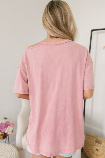 Vintage Wash Cutout Pocket Tee - Faded Red