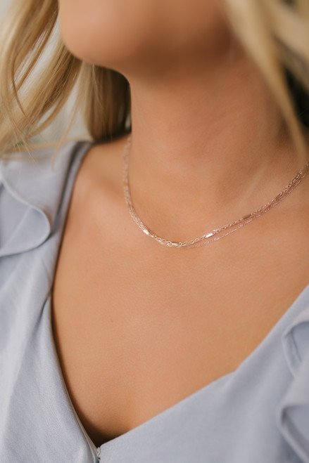Dainty Layered Necklace - Rose Gold