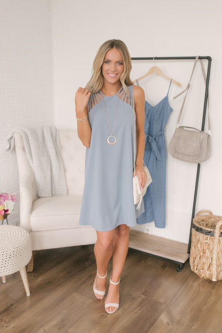 Jasmine Cage Strap A-Line Dress - Dusty Blue