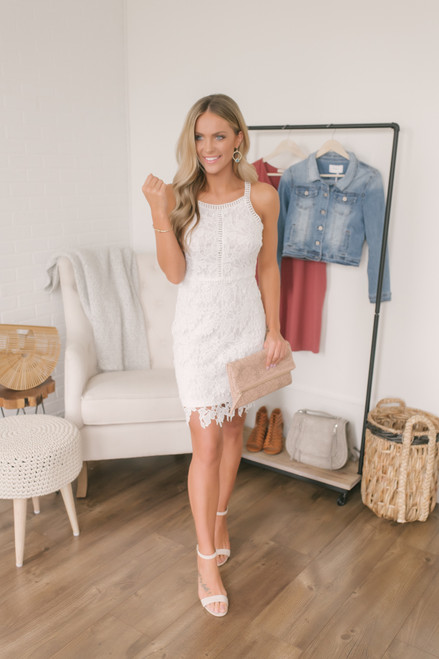 Love Song Crochet Halter Dress - White  - FINAL SALE
