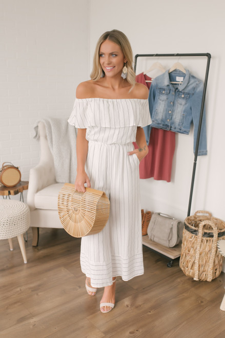 Off the Shoulder Striped Jumpsuit - White/Grey