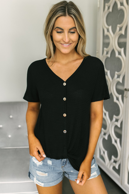 Button Detail Twisted Hem Waffle Top - Black