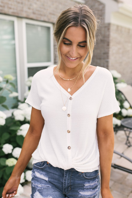 Button Detail Twisted Hem Waffle Top - White