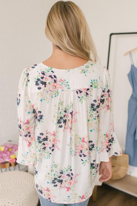 Surplice Peplum Sleeve Floral Top - White Multi
