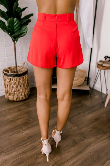 FLETCH Brooklyn High Waist Shorts - Red