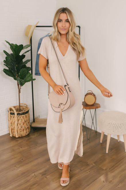 Wanderlux Alloa Fringe Maxi Dress - Oatmeal - FINAL SALE