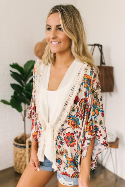 Wanderlux Cavan Fringe Kimono - Neutral Rose Pop - FINAL SALE