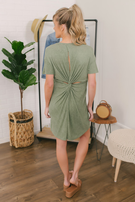 Wanderlux Laurence Ribbed Dress - Vintage Fern - FINAL SALE