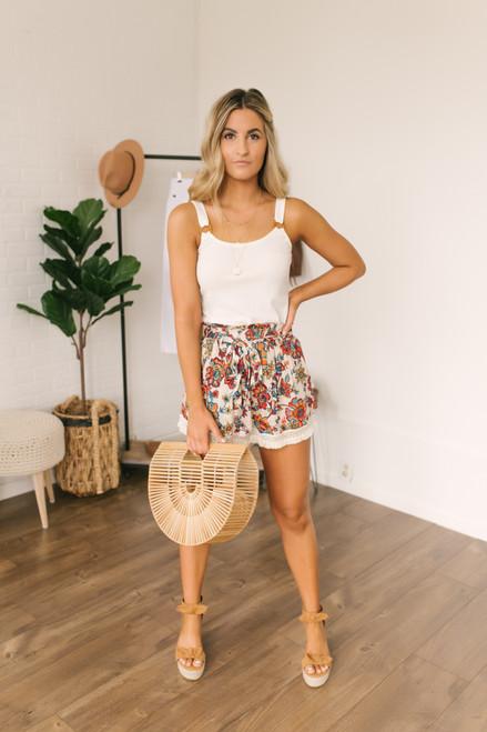 Wanderlux Madison High Waisted Shorts - Neutral Rose Pop