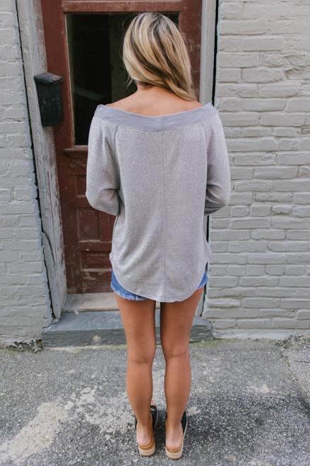 Off the Shoulder Lightweight Sweatshirt - Grey