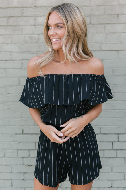 Off the Shoulder Striped Romper - Black/White