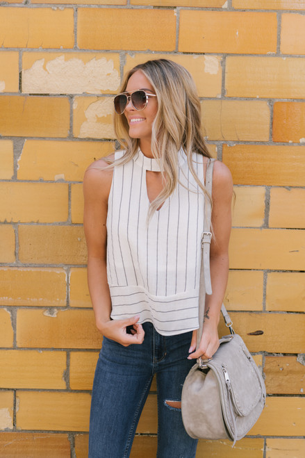Mock Neck Keyhole Striped Tank - White/Black - FINAL SALE