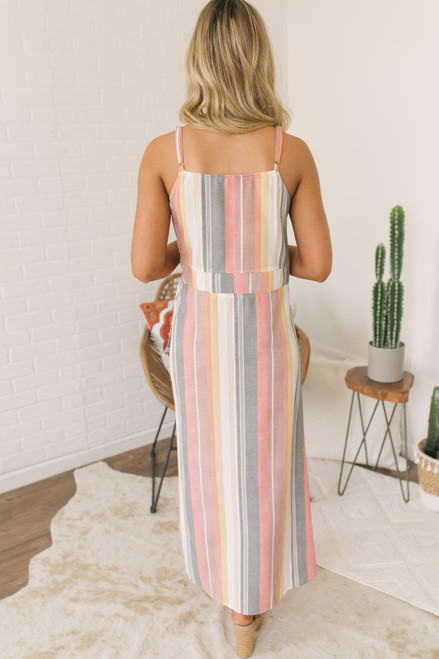 Wanderlux Cape Cod Maxi Dress - Warm Stripes