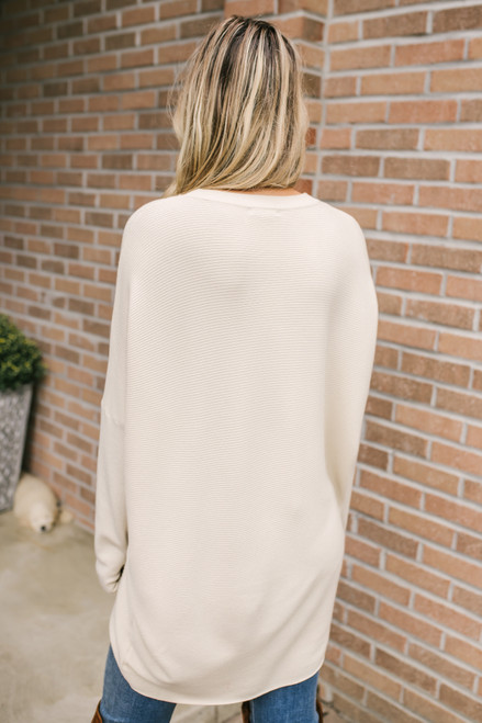 High Low Ribbed Keyhole Sweater - Natural