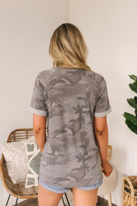 V-Neck Cuffed Sleeve Camo Tee - Charcoal Multi  - FINAL SALE