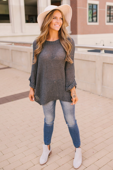 Open Knit Cuffed Sleeve Sweater - Charcoal