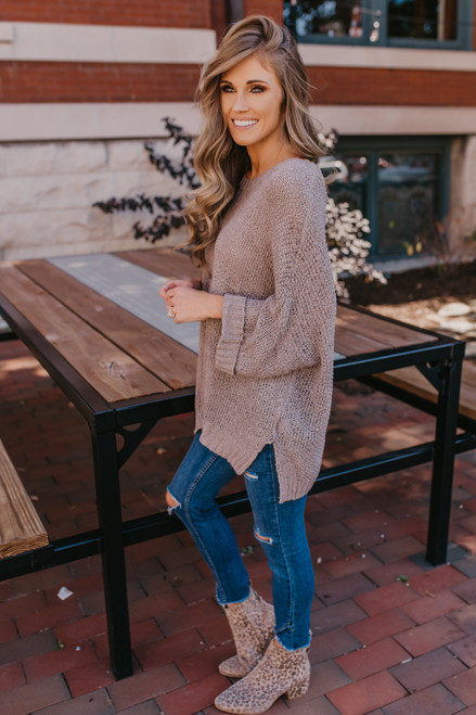 Open Knit Cuffed Sleeve Sweater - Taupe
