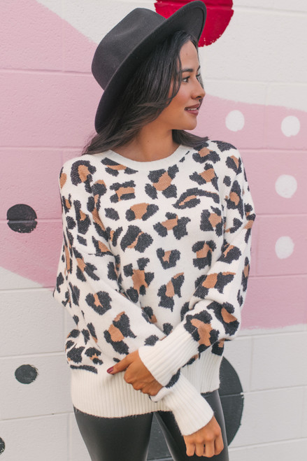 Open Back Leopard Sweater - Ivory Multi